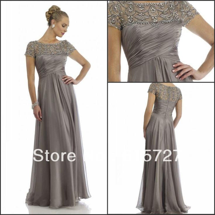 New Arrival 2014 Short Sleeve Gray Chiffon Beading Draped Mother Of The Bride Dress Pant Suits Evening Gown