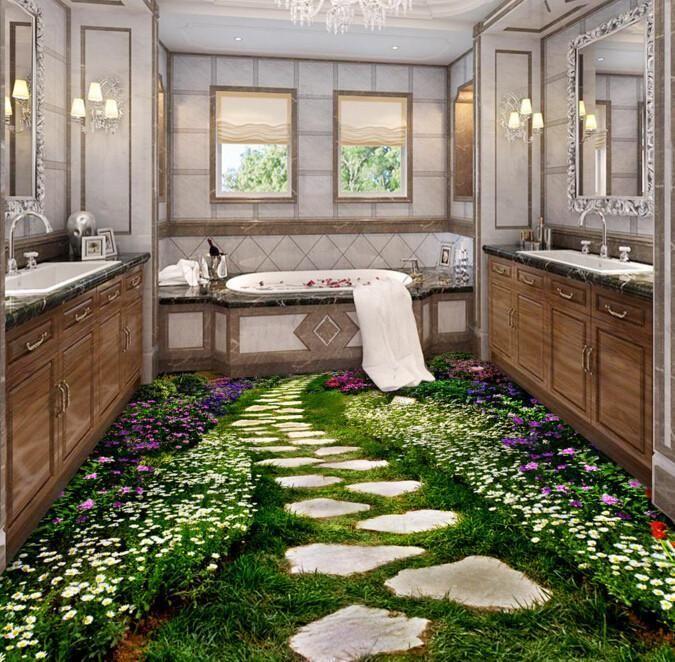 Landscaping Ideas In 2019: 3D Garden Stone Path Floor Mural