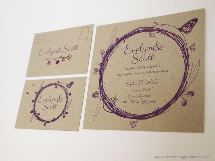 Wedding Invitations | Wedding Invitation- Australian Heritage | http://www.classicweddinginvitations.com.au/australian-themed-invitations-eco-friendly/