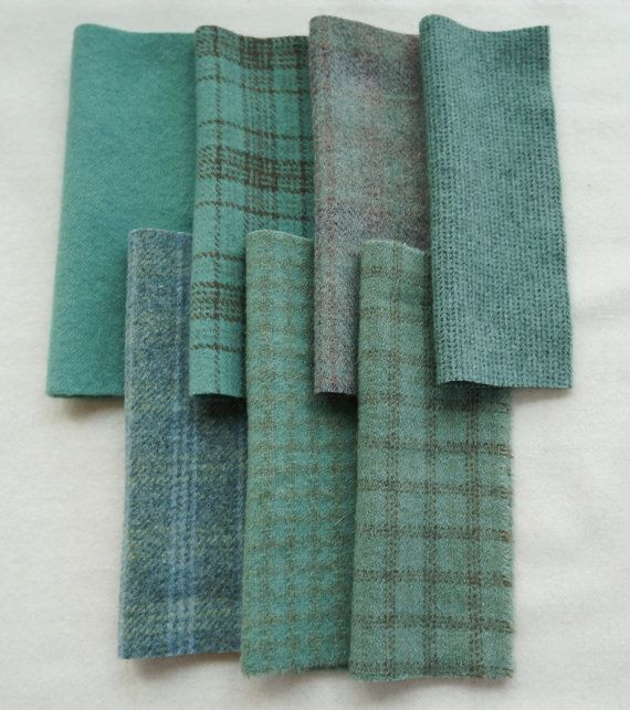Hand dyed and felted wool fabrics in a wonderful combination of Spruce Green tones that work well together. This is a great combination of those