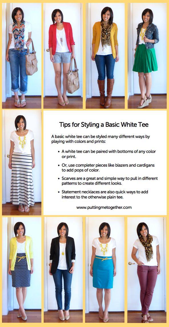 Basic White Tee revamped...I LOVE this blog!!!Plain White, Tees Shirts, White Tees, White T Shirts, White Shirts, Fashion Blog, Cute Outfit, Basic White, Style Tips