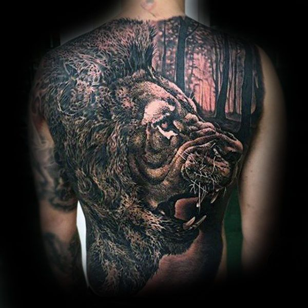 50 Lion Back Tattoo Designs For Men Masculine Big Cat Ink Ideas Back Tattoo Lion Back Tattoo Tattoo Designs Men