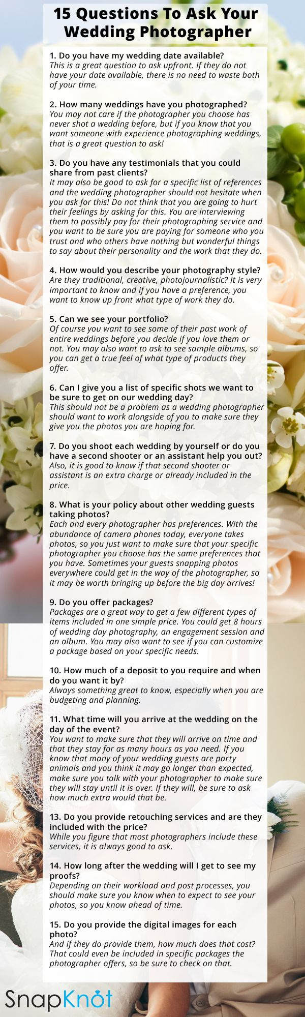 15 Questions To Ask A Wedding Photographer Before You Book Them Tips And