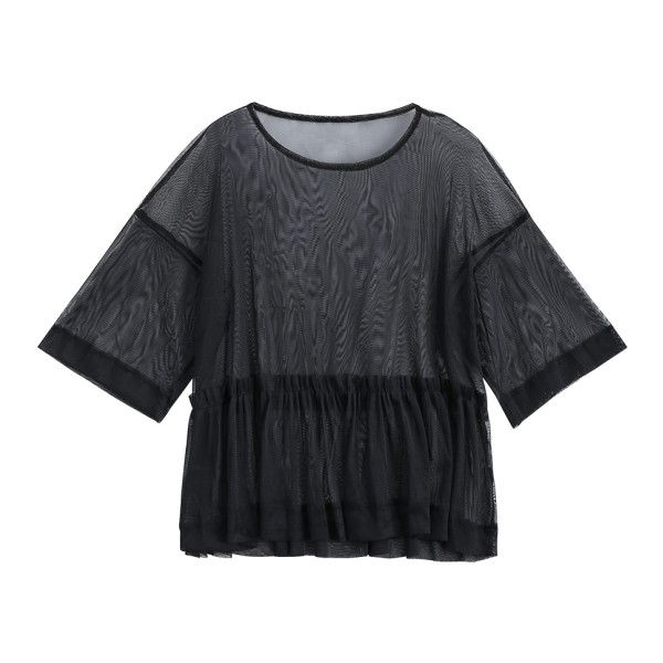 Mesh See Through Ruffles Top ($16) ❤ liked on Polyvore featuring tops, sweaters, ruffle top, flutter-sleeve top, flounce top, see through tops and sheer mesh top