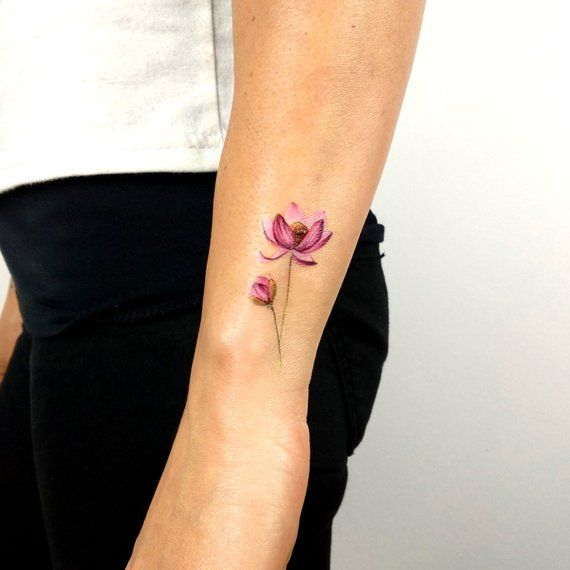 Tatouage temporaire de fleur de lotus par Lena Fedchenko (ensemble de 3)   – art, nature