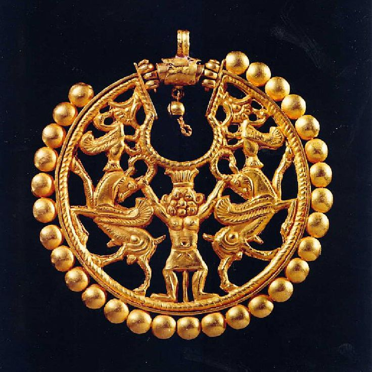 Achaemenid Persian Gold Earring of Bes as Master of the Animals,   Achaemenid Persia, 6th century BC