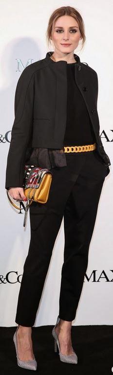 Who made Olivia Palermo's tan pumps and print handbag?