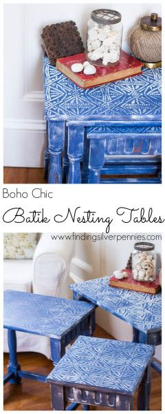Batik Nesting Tables (Before And After