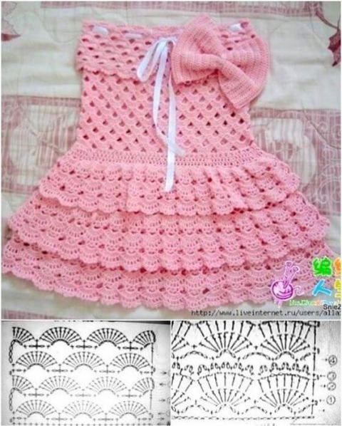 561bc71fa Patrones gráficos de vestidos para bebés en crochet - Patrones gratis