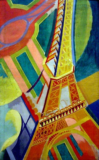 Eiffel Tower, Robert Delaunay his inspiration came from most is Paris. colour used very perfect. the view from the top of the Eiffel Tower. the line very settle.
