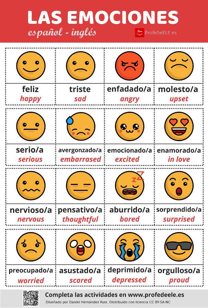 Infografía de las emociones y actividades online (juego de memoria) y más de 10 fotos para trabajar la expresión oral y escrita. Nivel A1/A2.