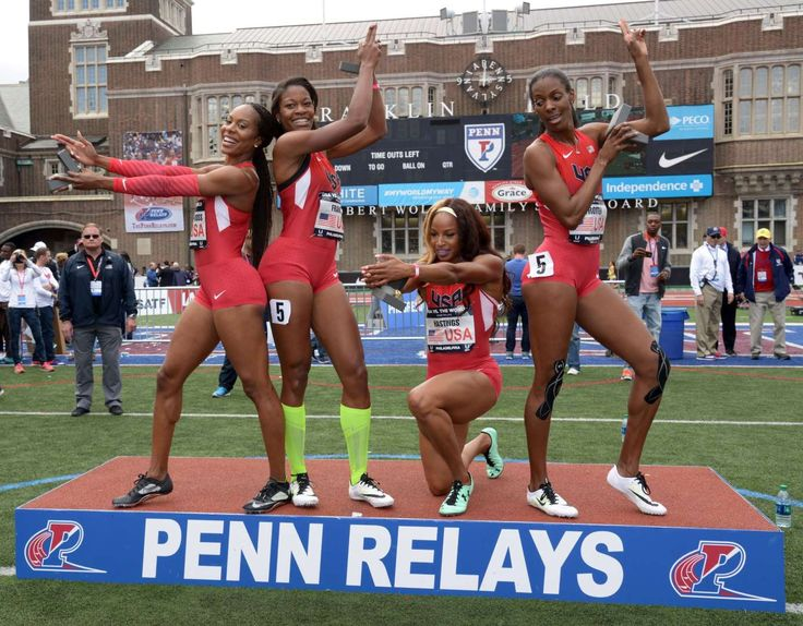 Victory Pose Members of the United States womens 4 x 400m relay team (from left) Sanya Richards-Ross and Phyllis Francis and Natasha Hastings adn DeeDee Trotter pose after winning the USA vs. The World race in 3:26.83 during the 122nd Penn Relays at Franklin Field on Saturday in Philadelphia.