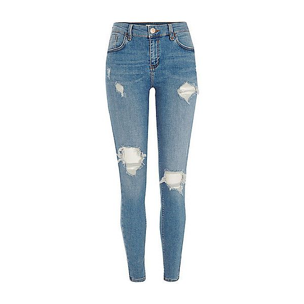 Blue Amelie ripped super skinny jeans ❤ liked on Polyvore featuring jeans, bottoms, pants, torn skinny jeans, destructed skinny jeans, denim skinny jeans, distressed jeans and faded skinny jeans