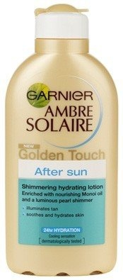 Garnier Ambre Solaire New Golden Touch After Sun shimmering hydrating lotion 200mlIf your skin needs to be soothed and rehydrated after a day in the sun and you want a shimmering sun-kissed glow, then Garnier Ambre Solaire Golden Touch Aftersun Shimmering Hydrating Lotion is the choice for you. Its formula is enriched with Monoi Oil and Pearl Shimmer particles for an illuminating effect. Monoi Oil is from Tahiti and originates from the fusion of ...