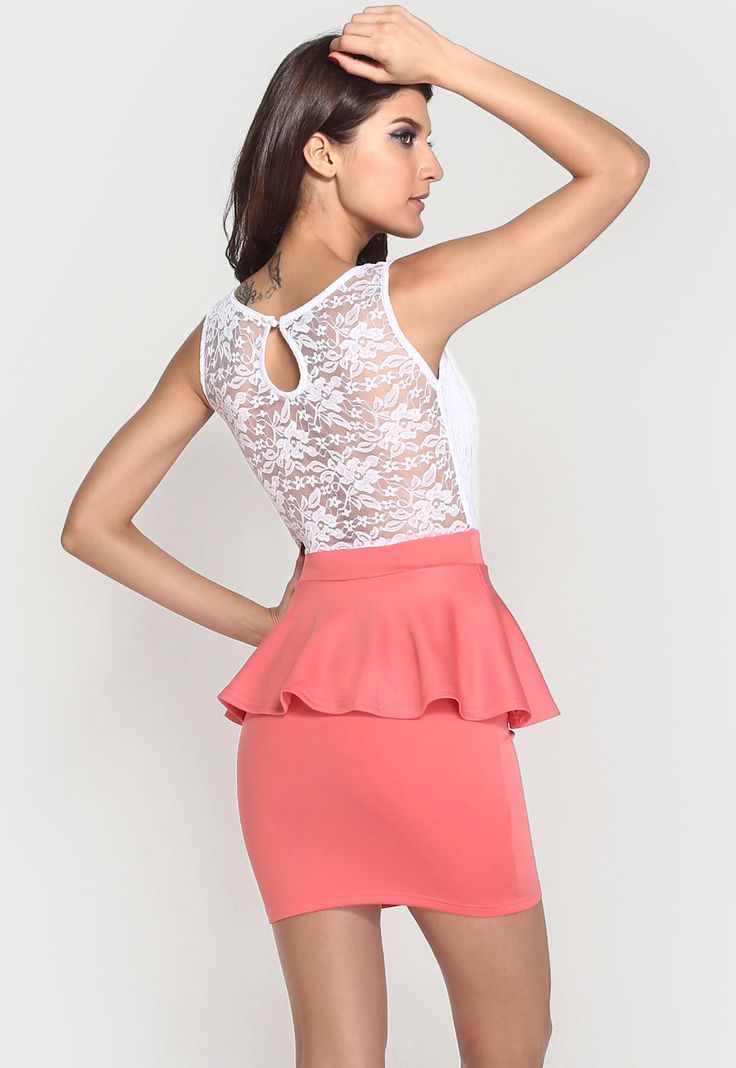 Coral lace peplum dress available from Lush - SOUTH AFRICA  #lushwear #southafrica #peplum #dress #dresses