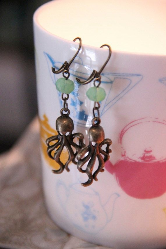 Minty Fresh Octopus Science Geek Girl Earrings by GirlyGeekChic, $8.00