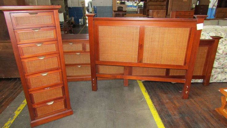 """Pier One bedroom furniture including cherry finish pine headboard 63""""W and footboard"""