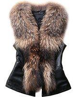 Molie Kurze Fellweste Damen kunstliche Fur Westen Schwarz Braun S M L XL XXL 3XL