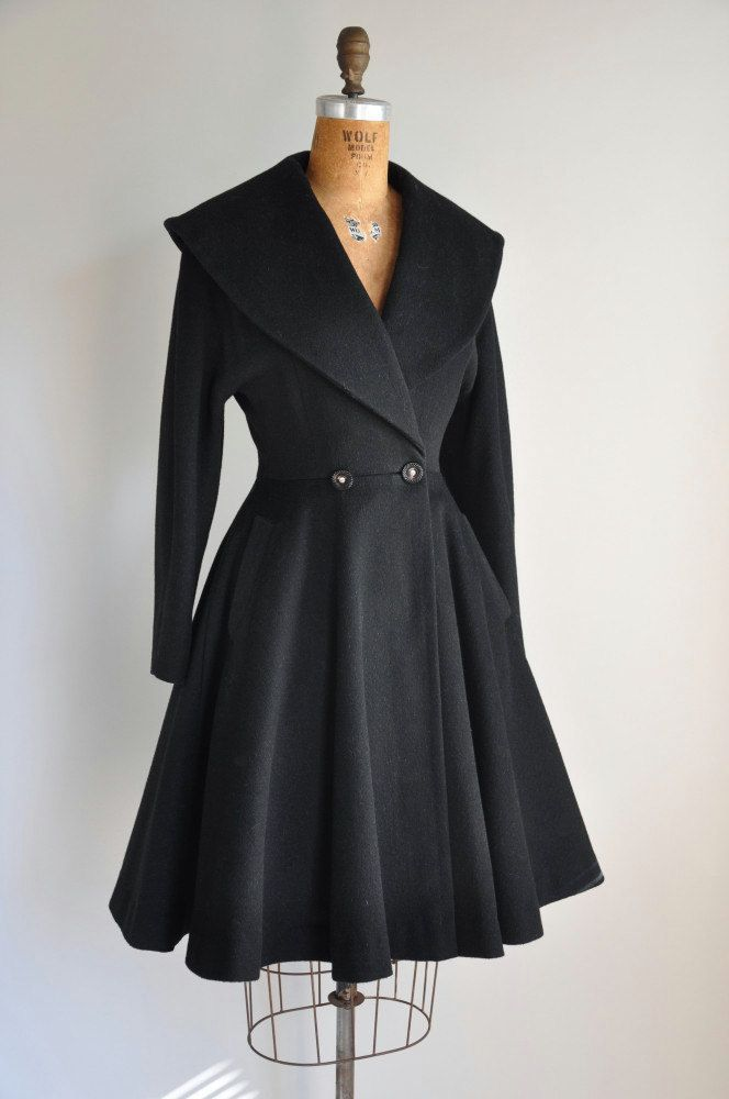 r e s e r v e d...1950s coat / vintage 1950s 50s black princess coat / Winter's Day. via Etsy.