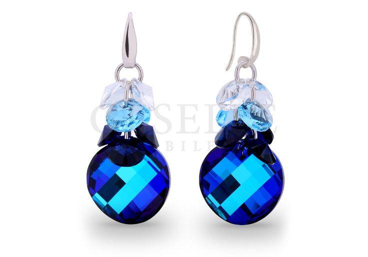 Wyjątkowe, pełne blasku, niebieskie kolczyki z kryształami SWAROVSKI ELEMENTS idealne na prezent | SREBRO \ Kolczyki NA PREZENT \ Rocznica od GESELLE Jubiler