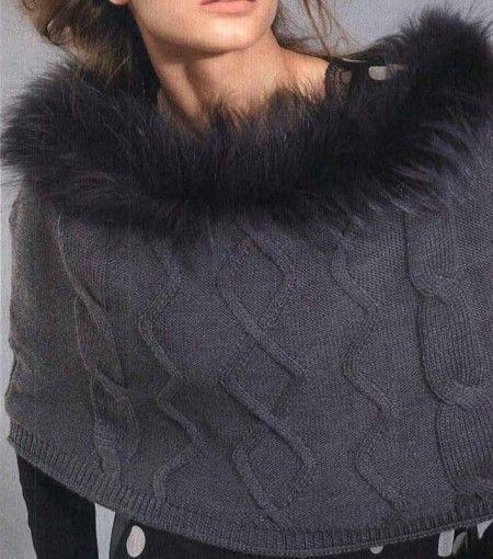 Lavori ai ferri per realizzare una mantella con un tocco di pelliccia