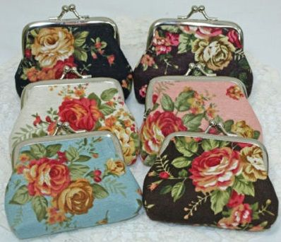 Dainty vintage style roses fabric coin purse, 5 colours available: black, brown, blue, pink, cream, 9.5 x 8.5cm incl. clasp @ AUD$6.00 + postage.