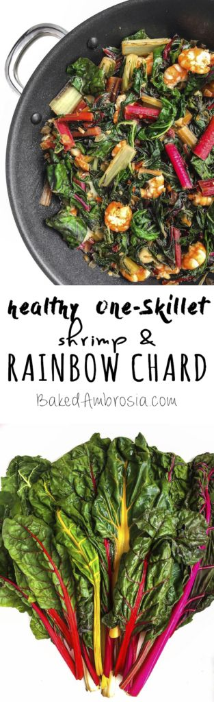 Shrimp and Rainbow Chard are sautéed in one skillet with chiles, ginger, and lime for a quick, healthy, and delicious meal.