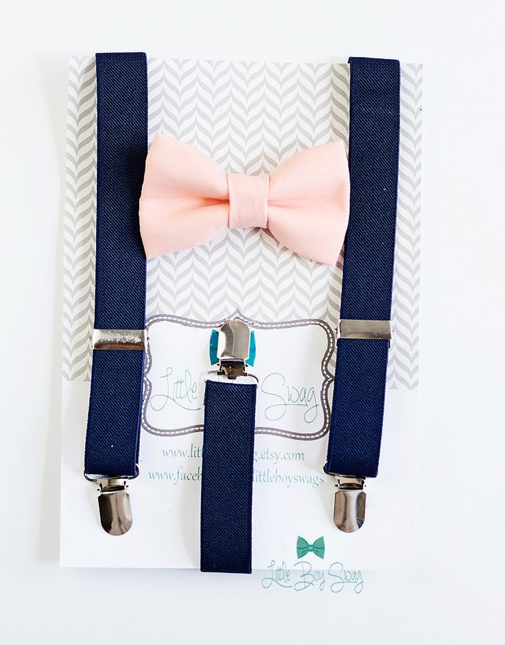 Navy Suspenders with a Bow tie of your choice: Nude, Peach or Blush   A great set for groomsman, best man or ring bearers! We can custom make any color/pattern for your wedding party. These bow ties come in the option of pre-tied or traditional self tie styles to make it easy for everyone to wear and look great! What you need to know The Suspenders: Have 3 clips that are 3/4 wide and fit snugly on the childs pants. They feature adjustable sliders to adjust the length of the suspenders. Fits…