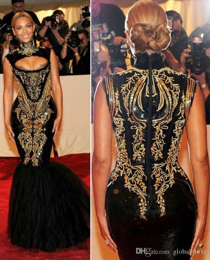 Custom Made 2017 Hot Sexy Beyonce Met Gala Black And Gold Embroidery Beaded Mermaid Celebrity Dresses Evening Gowns Prom Dresses Beautiful Dresses Boutique Dresses From Global_love, $140.71| Dhgate.Com