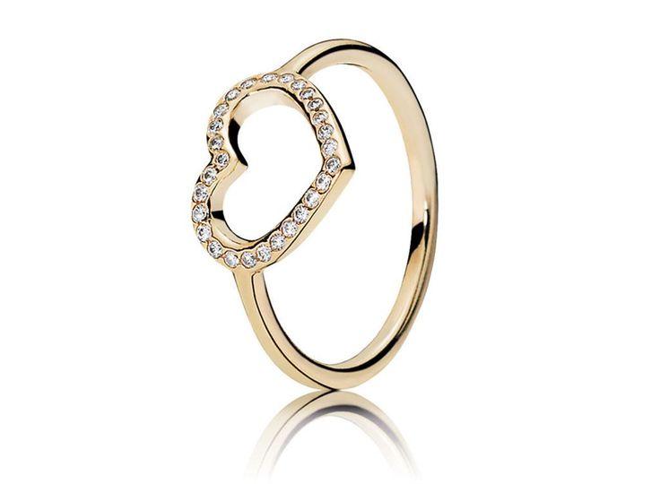Anel de Ouro Grande Coração - Bem-vindo - Pandora Joias