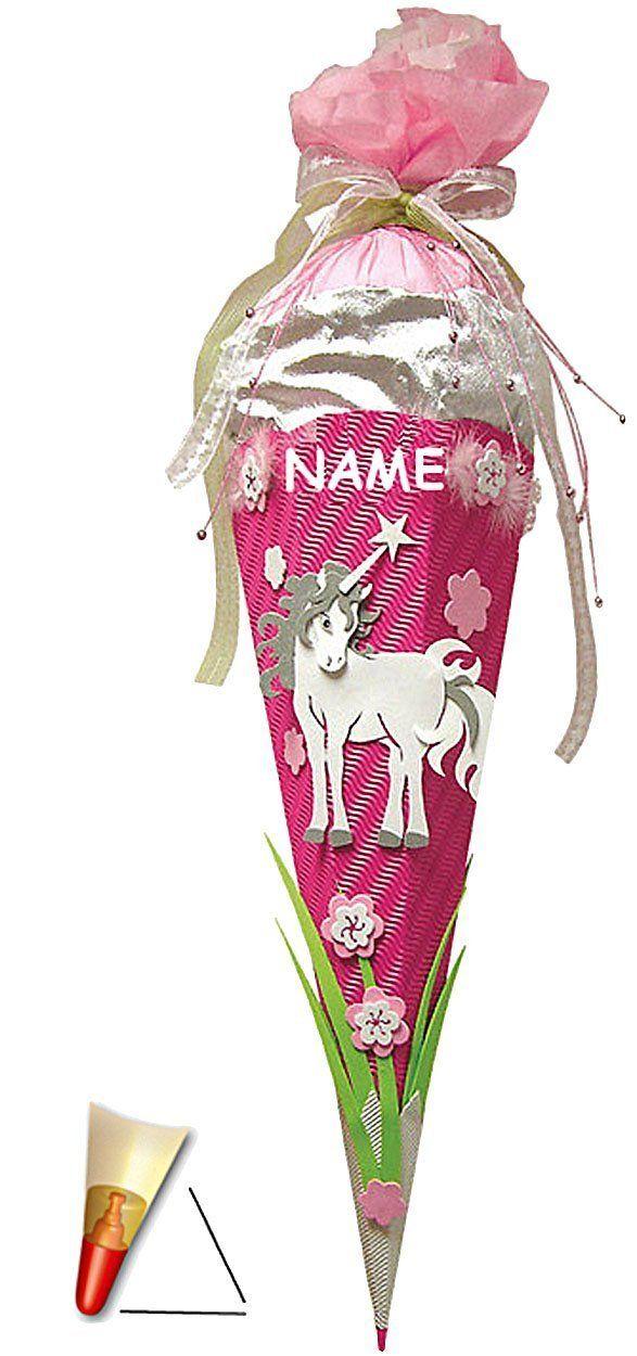 fertig gebastelte Schultüte - Einhorn 85 cm - mit Holzspitze - Zuckertüte Roth - ALLE Größen - 6 eckig Mädchen Pferde Blumen Einhörner