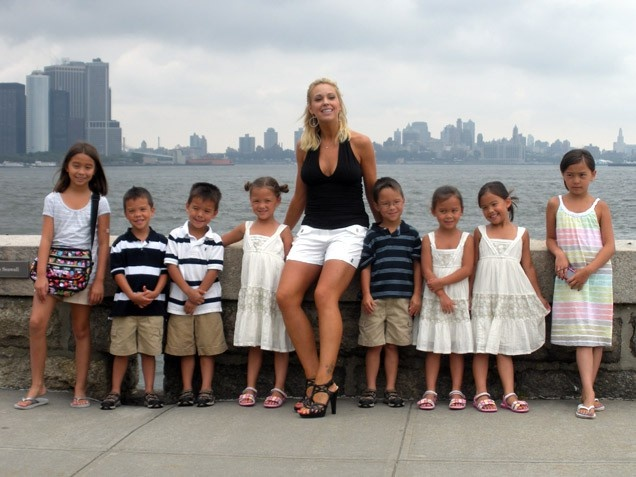 Kate Gosselin  Maybe you recognized these cuties from their famous reality show, but can you tell them apart from their sextuplet brothers and sisters (pictured from left to right: Cara, Joel, Collin, Alexis, Aaden, Leah, Hannah and Mady)? These are, of course, three of Kate and Jon Gosselin's eight kids.