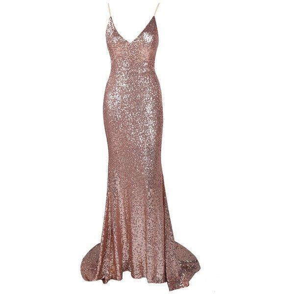 Honey Couture ELIZABETH Rose Gold Low Back Sequin Formal Gown Dress ❤ liked on Polyvore featuring dresses, gowns, sequin evening gowns, sexy dresses, formal dresses, sexy formal dresses and sexy formal gowns