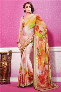 Peach Georgette Digital Printed Saree