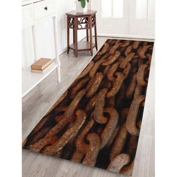 $25.46 Rusty Chain Anti Slip Coral Velvet Door Mat - Brown - W24 Inch * L71 Inch