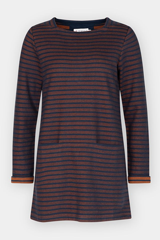#SeasaltComfortAndJoy Soft, 100% cotton women's tunic top with long sleeves, Seasalt jacquard design & beautiful texture. Perfect with leggings or jeggings this spring.