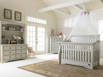 Sawyer Crib And Double Dresser In Linen Grey