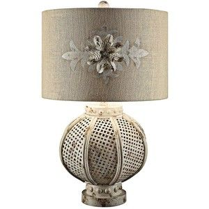Crestview Collection Becca White Wash Wicker Table Lamp