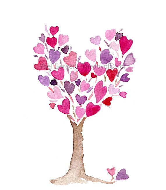Pink purple Heart Tree art print, anniversary, valentine ...