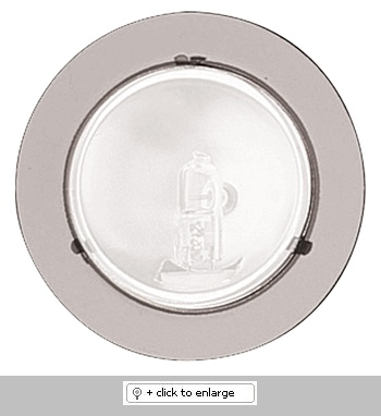 """Mini Surface Mount Downlight with Sanded Glass Lens   Downlight with 1 3/4"""" reflector and protective lens    ETL Listed for remote transformers  Lamp: 12V 20W JC lamp (included)    Dimension: Height: 7/8"""", Cutout: 2 1/4"""", Trim O.D.: 2 5/8""""  Regular price: $22.99  Sale price: $12.99"""