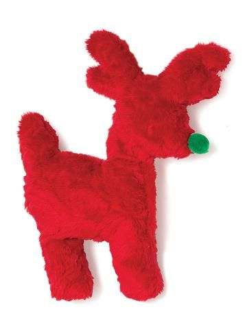 Toys - West Paw Design Tiny Tuff Reindeer - Red Embossed