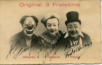 three old-timey clowns who probably terrorized school children back in the days where talk therapy was not generally available