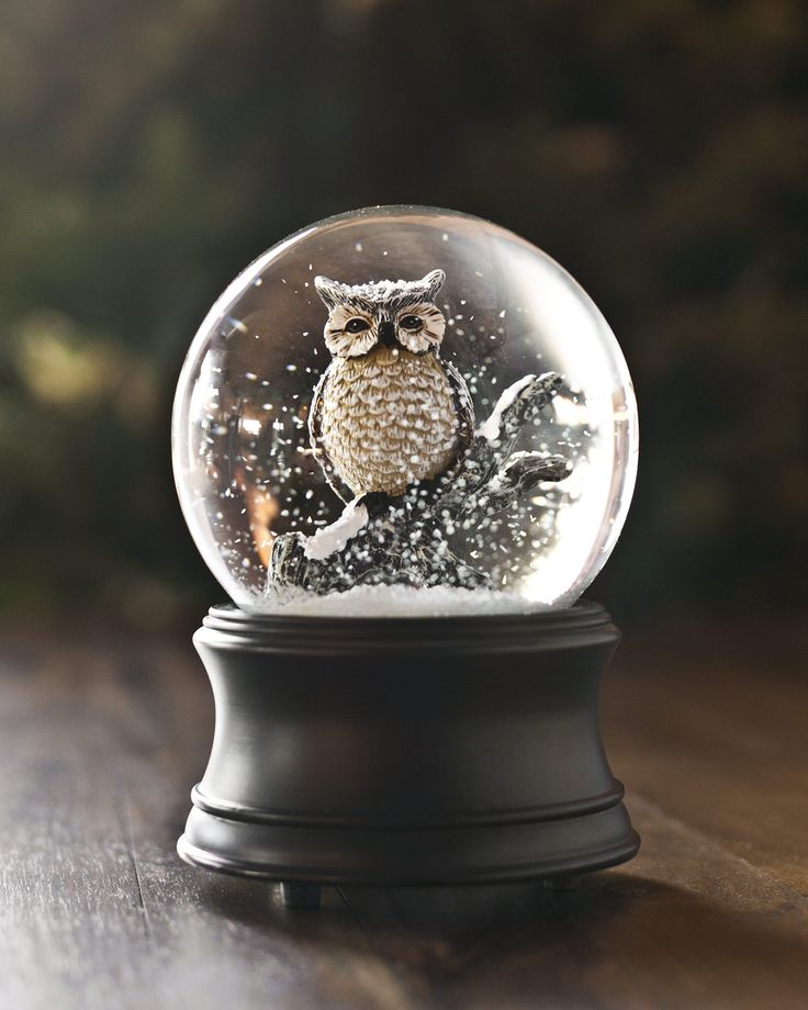"The scenic beauty of a snow-covered forest is vividly captured in our Musical Owl Snow Globe. Featuring your favorite nocturnal creature perched on a branch, this owl snow globe adds a woodsy touch to any room. Shake the globe to view an enchanting snowfall, and wind up the built-in music box to play ""Let It Snow."""