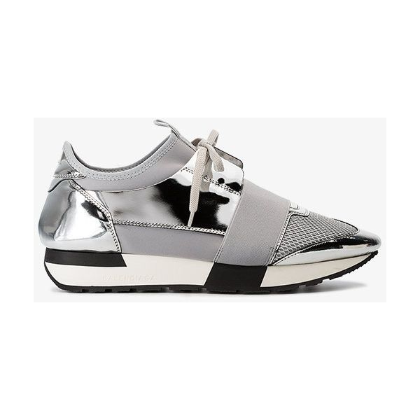 Balenciaga Grey And Silver Race Runner Leather Sneakers ($685) ❤ liked on Polyvore featuring shoes, sneakers, metallic, balenciaga sneakers, silver trainers, silver metallic shoes, metallic grey shoes and metallic silver sneakers