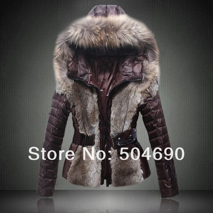 Free Shopping New Ladies Down Coat Fashion Women Winter Rabbit Fur Coat Real Fur With Hat and Belt Warm Parkas Lady Down Jacket US $288.00