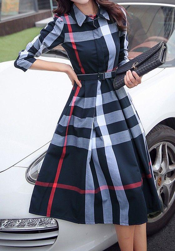 Navy Blue Plaid Belt Turndown Collar Long Sleeve Midi Dress