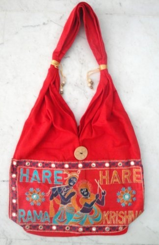 Fashionable Hare Krishna Hare Rama Handcrafted Embroidered Indian Tote Ladies Sling Cotton Handbag by Krishna Mart India, http://www.amazon.com/dp/B005GT4VGO/ref=cm_sw_r_pi_dp_8nIVpb1XKHKMT: Indian Tote, Krishna Hare, Rama Handcrafted, Cotton Handbag, Handcrafted Embroidered, Fashionable Hare, Embroidered Indian