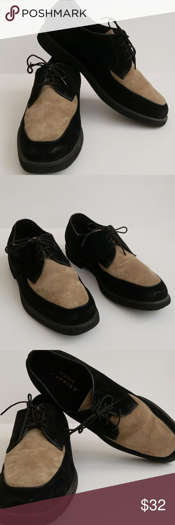 "Hush Puppies Suede Shoes Hush Puppies Suede Shoes. Men, Size 10 N, two tone, black and tan, lace-up, 1"" heels, slight marks on toes, soles in great condition as seen in pictures, suede leather. Hush Puppies Shoes Oxfords & Derbys"