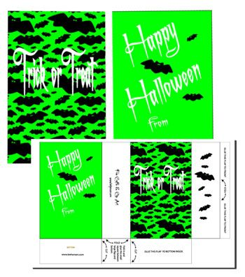 green trick or treat bag with bats