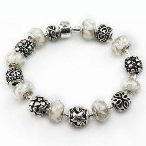 European Charms and Beige Colored Glaze Beads Pandora Style Bracelet